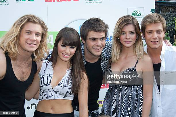 Nicolas Riera Mariana Esposito Peter Lanzani Maria Eugenia Suarez and Gaston Dalmau of pop band Teen Angels attend a photocall for the International...