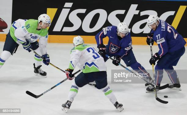 Nicolas Ritz and Loic Lamperier of France during the 2017 IIHF Ice Hockey World Championship game between France and Slovenia at AccorHotels Arena on...