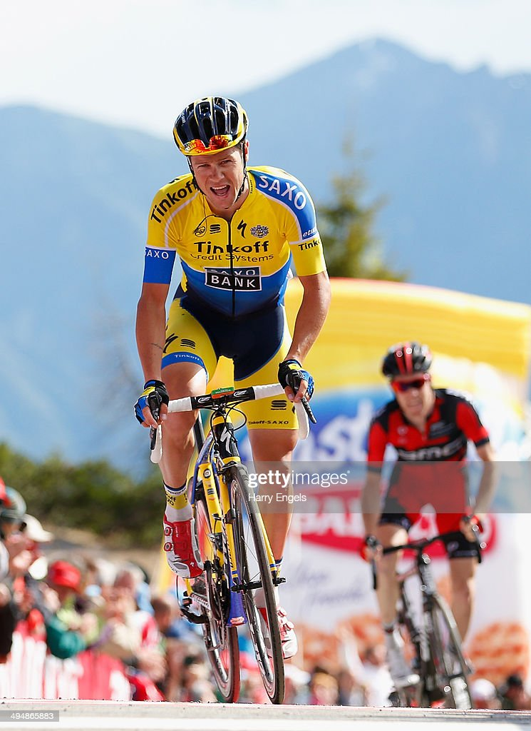 <a gi-track='captionPersonalityLinkClicked' href=/galleries/search?phrase=Nicolas+Roche&family=editorial&specificpeople=5446631 ng-click='$event.stopPropagation()'>Nicolas Roche</a> of Ireland and team Tinkoff-Saxo crosses the finish line during the twentieth stage of the 2014 Giro d'Italia, a 167km high mountain stage between Maniago and Monte Zoncolan on May 31, 2014 in Maniago, Italy.