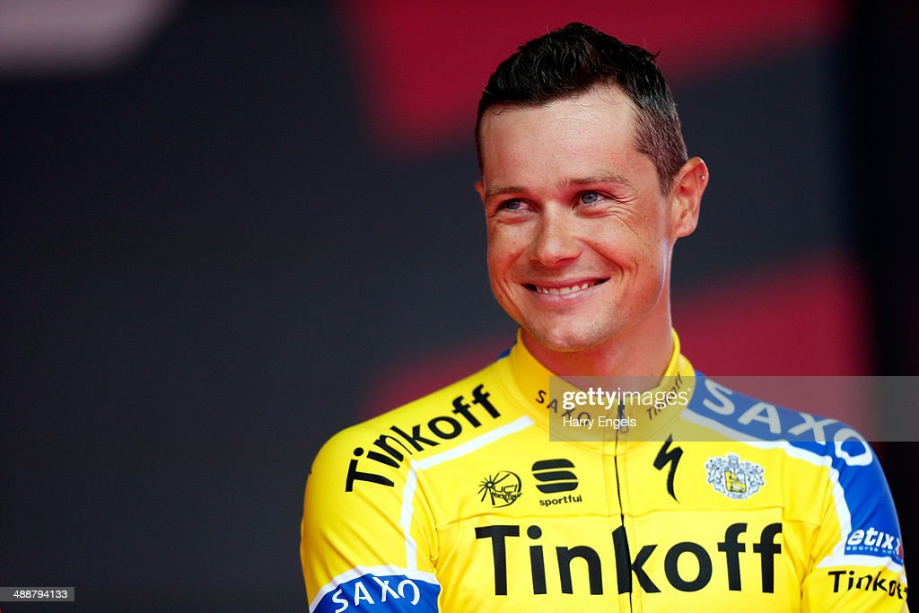 <a gi-track='captionPersonalityLinkClicked' href=/galleries/search?phrase=Nicolas+Roche&family=editorial&specificpeople=5446631 ng-click='$event.stopPropagation()'>Nicolas Roche</a> of Ireland and team Tinkoff-Saxo looks on during the Team Presentation for the 2014 Giro d'Italia on May 8, 2014 in Belfast, Northern Ireland.