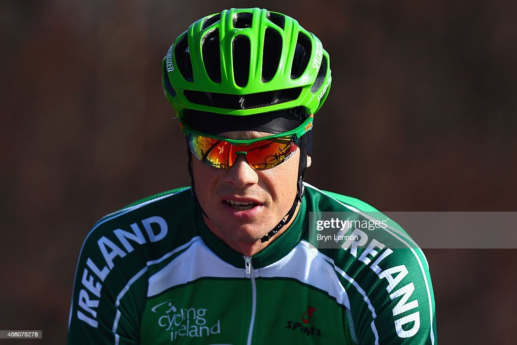 <a gi-track='captionPersonalityLinkClicked' href=/galleries/search?phrase=Nicolas+Roche&family=editorial&specificpeople=5446631 ng-click='$event.stopPropagation()'>Nicolas Roche</a> of Ireland in action during training for the UCI World Road Race Championships on September 25, 2014 in Ponferrada, Spain.
