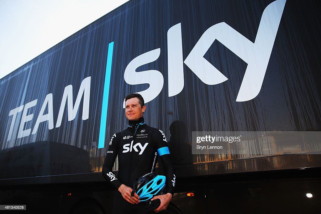 <a gi-track='captionPersonalityLinkClicked' href=/galleries/search?phrase=Nicolas+Roche&family=editorial&specificpeople=5446631 ng-click='$event.stopPropagation()'>Nicolas Roche</a> of Ireland prepares to train with Team SKY during a Team SKY Media Day on January 11, 2015 in Alcudia, Spain.