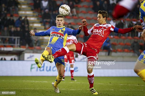 Nicolas Rommens midfielder of KVC Westerlo and David Hubert midfielder of Royal Excel Mouscron during the Jupiler Pro League match between Royal...