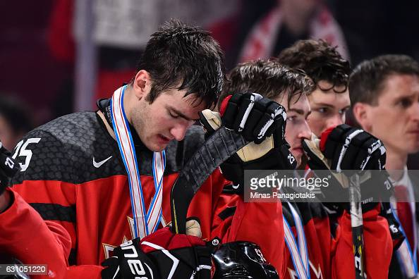 Nicolas Roy of Team Canada reacts after losing to Team United States during the 2017 IIHF World Junior Championship gold medal game at the Bell...