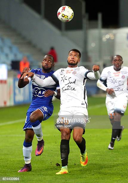 Nicolas Saint Ruf of montpellier and Lenny Nangis of bastia during the Ligue 1 match between SC Bastia and Montpellier Herault SC at Stade Armand...
