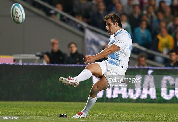Nicolas Sanchez of Argentina kicks a penalty during a match between Argentina Los Pumas and New Zealand All Blacks as part of fifth round of The...