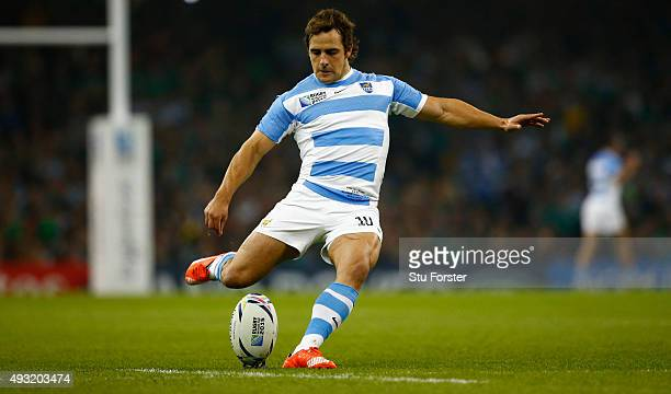 Nicolas Sanchez of Argentina kicks a penalty during the 2015 Rugby World Cup Quarter Final match between Ireland and Argentina at Millennium Stadium...