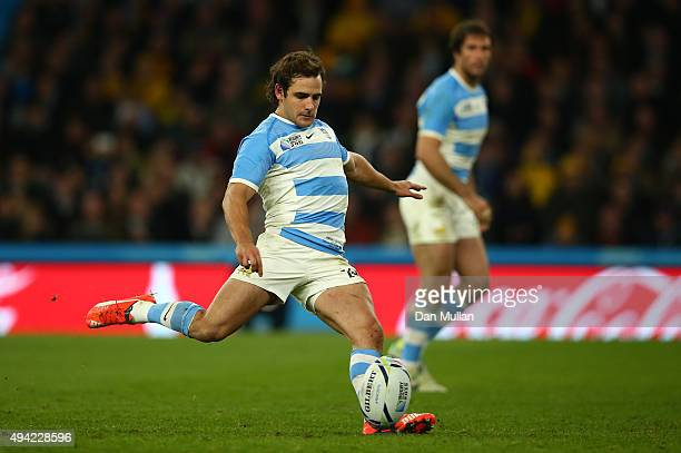 Nicolas Sanchez of Argentina kicks a penalty during the 2015 Rugby World Cup Semi Final match between Argentina and Australia at Twickenham Stadium...