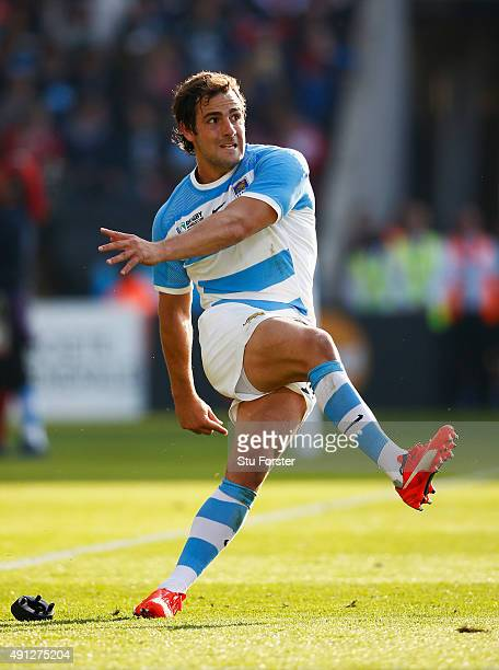 Nicolas Sanchez of Argentina kicks at goal during the 2015 Rugby World Cup Pool C match between Argentina and Tonga at Leicester City Stadium on...