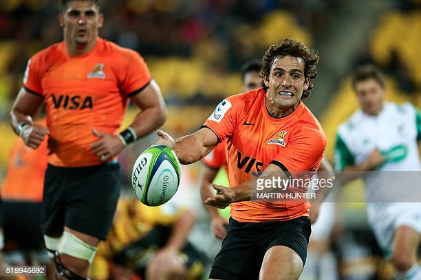 Nicolas Sanchez of the Jaguares passes the ball during the Super Rugby match between New Zealand's Wellington Hurricanes and Argentina's Jaguares at...