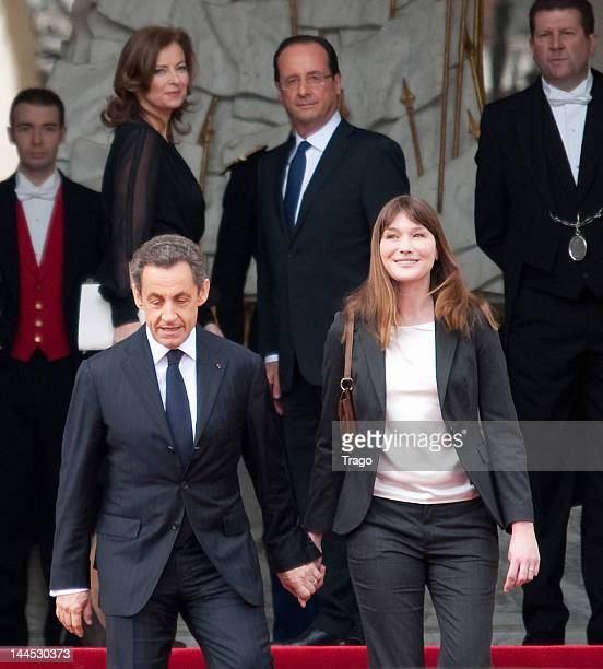 Nicolas Sarkozy and Carla Bruni leave the Elysee Palace after Francois Hollande was sworn in as President as the French President and his partner...