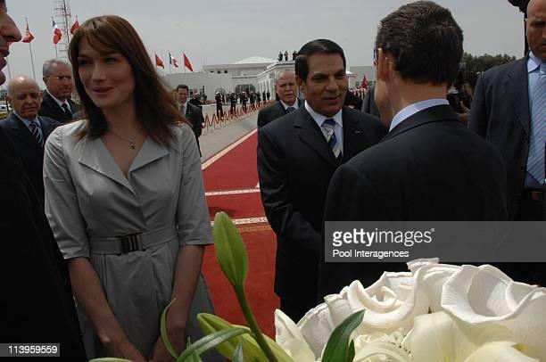 Nicolas Sarkozy and Carla Bruni Sarkozy leave Tunisia after a 3 day state visit In Tunisia on April 30 2008Carla Bruni Sarkozy and Tunisian President...