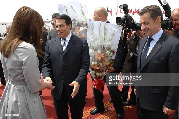 Nicolas Sarkozy and Carla Bruni Sarkozy leave Tunisia after a 3 day state visit In Tunisia on April 30 2008Nicolas Sarkozy Tunisian President Zine El...