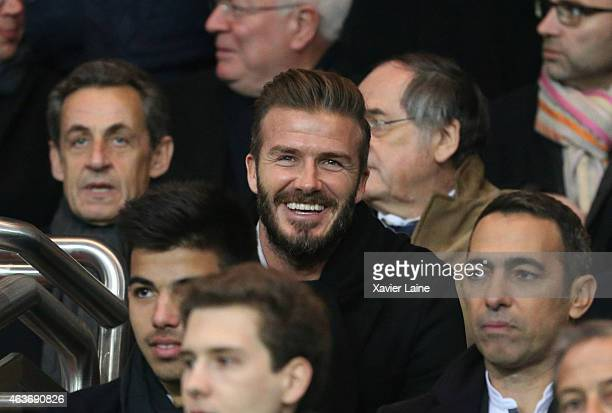 Nicolas Sarkozy and David Beckham attend the UEFA Champions League Round of 16 between Paris SaintGermain and Chelsea at Parc Des Princes on February...