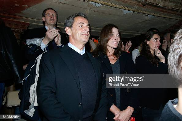 Nicolas Sarkozy and his wife Carla Bruni attend Gerard Depardieu sings Barbara accompanied on the piano of Barbara by Gerard Daguere who was his...