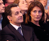 Nicolas Sarkozy and his wife Cecilia listen to French Prime Minister JeanPierre Raffarin's speech during the UMP congress in Le Bourget Sarkozy the...