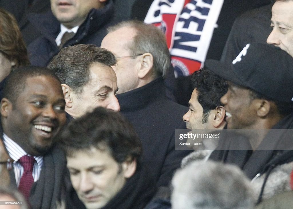 <a gi-track='captionPersonalityLinkClicked' href=/galleries/search?phrase=Nicolas+Sarkozy&family=editorial&specificpeople=211375 ng-click='$event.stopPropagation()'>Nicolas Sarkozy</a> and <a gi-track='captionPersonalityLinkClicked' href=/galleries/search?phrase=Jamel+Debbouze&family=editorial&specificpeople=606837 ng-click='$event.stopPropagation()'>Jamel Debbouze</a> attend before the French League 1 between Paris Saint-Germain FC and Marseille Olympic OM, at Parc des Princes on February 24, 2013 in Paris, France.