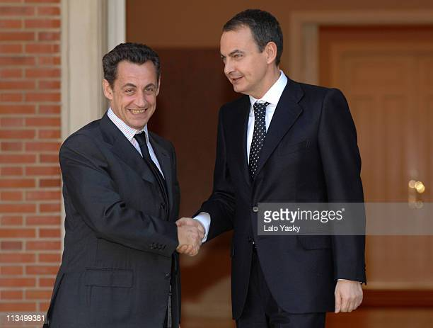 Nicolas Sarkozy and Jose Luis Rodriguez Zapatero during French Presidential Candidate Nicolas Sarkozy Visits Madrid Febraury 27 2007 in Madrid Spain