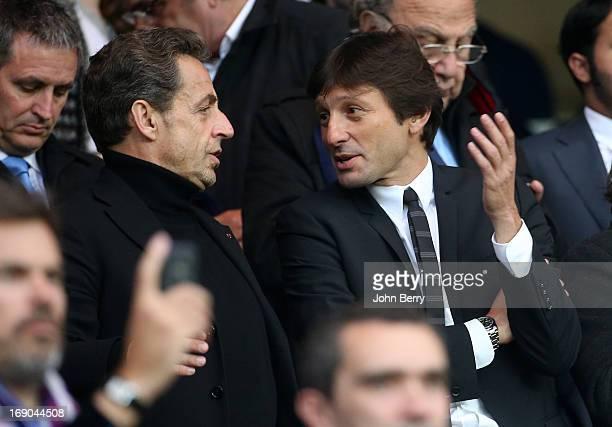 Nicolas Sarkozy and Leonardo manager of PSG attend the Ligue 1 match between Paris SaintGermain FC and Stade Brestois 29 at the Parc des Princes...