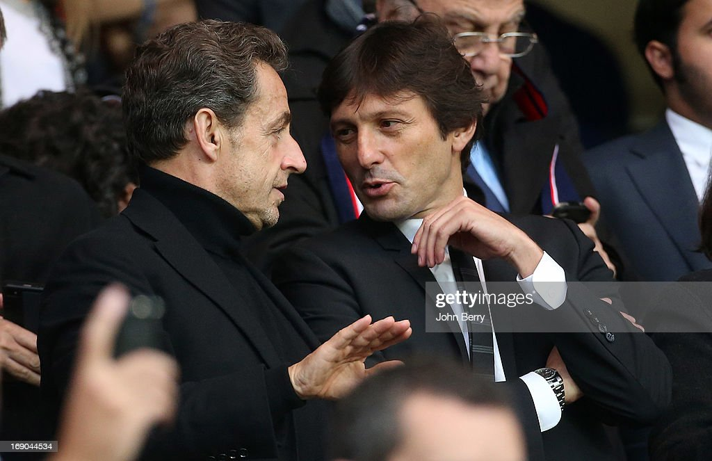 <a gi-track='captionPersonalityLinkClicked' href=/galleries/search?phrase=Nicolas+Sarkozy&family=editorial&specificpeople=211375 ng-click='$event.stopPropagation()'>Nicolas Sarkozy</a> and Leonardo, manager of PSG attend the Ligue 1 match between Paris Saint-Germain FC and Stade Brestois 29 at the Parc des Princes stadium on May 18, 2013 in Paris, France.