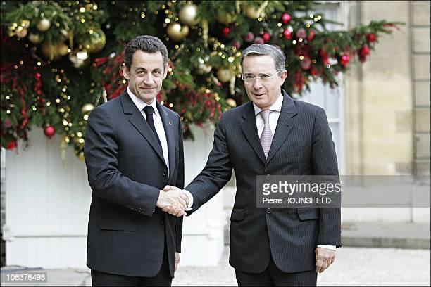 Nicolas Sarkozy and Álvaro Uribe in Paris France on January 21st 2008