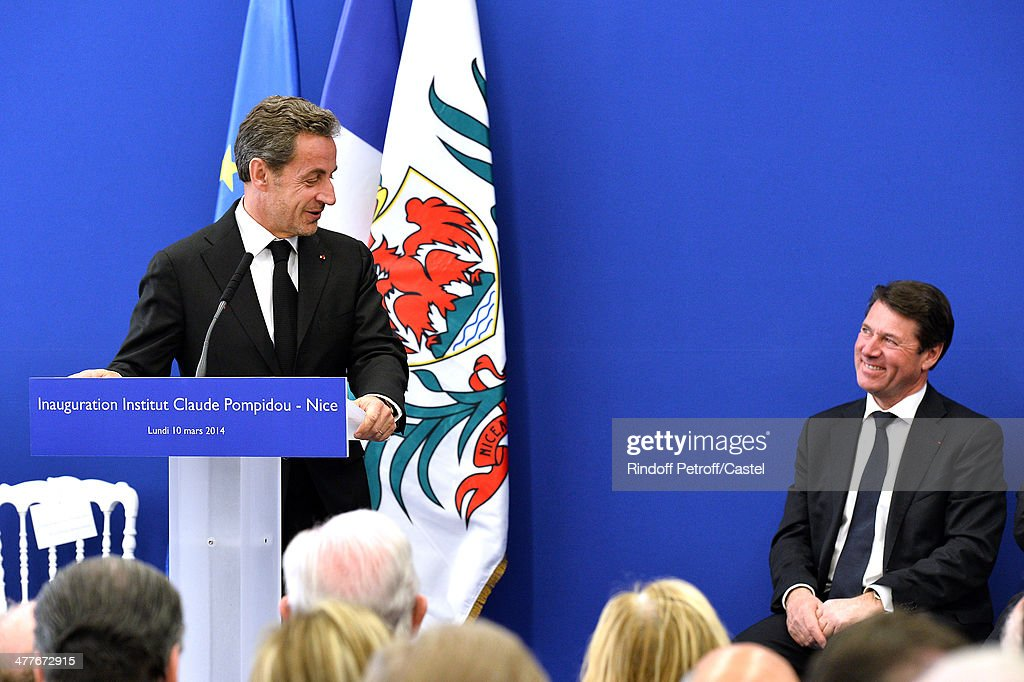 Nicolas Sarkozy and Mayor of Nice Christian Estrosi attend the inauguration of the Claude Pompidou Institute dedicated to the fight against Alzheimer's disease. In Nice, on March 10, 2014.