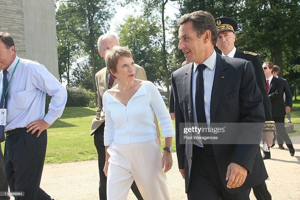 Nicolas Sarkozy at the Medef summer university In Jouy En Josas France On August 30 2007French employers organisation Medef's head Laurence Parisot...
