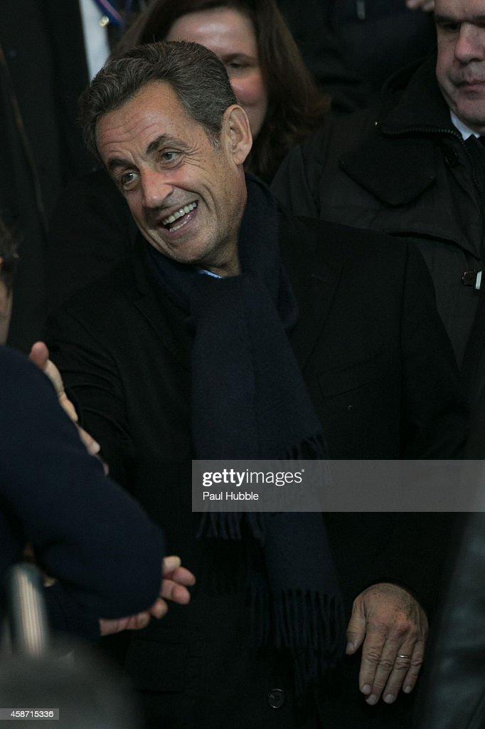 Nicolas Sarkozy attends the Paris Saint Germain vs Olympique de Marseille football match at Parc des Princes on November 9, 2014 in Paris, France.