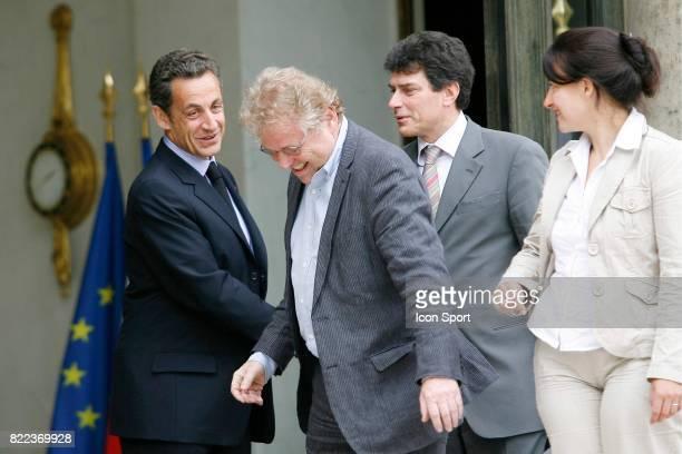 Nicolas SARKOZY / Cecile DUFLOT / Daniel COHN BENDIT President du groupe Verts / Ale au parlement Europeen Rencontre avec Nicolas Sarkozy Palais de l...