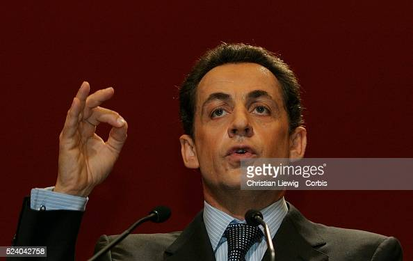 Nicolas Sarkozy during a meeting of new UMP members