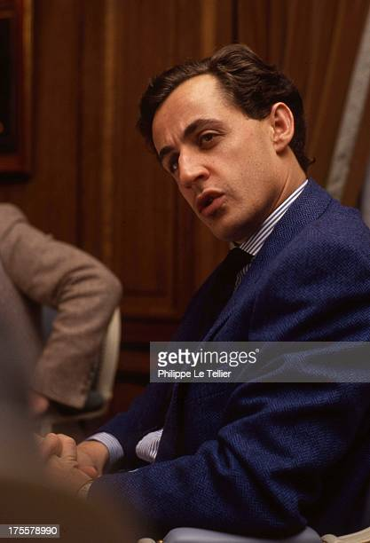 Nicolas Sarkozy during a tour in 1988 by Paul Wermus France Nicolas Sarkozy au cours d'un diner organisé par Paul Wermus en 1988 France