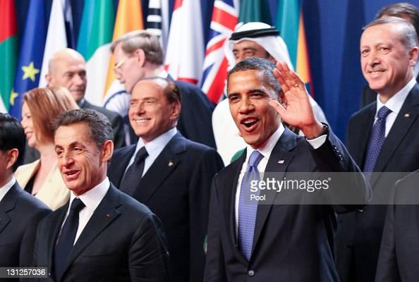 Nicolas Sarkozy France's president Silvio Berlusconi Italy's prime minister US President Barack Obama and Recep Tayyip Erdogan Turkey's prime...