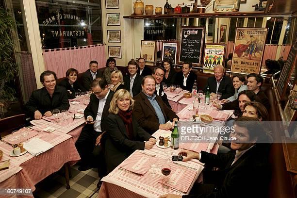 Nicolas Sarkozy Get His Troops Together For The Presidential Election Le président de l'UMP Nicolas SARKOZY invite son équipe au restaurant La...