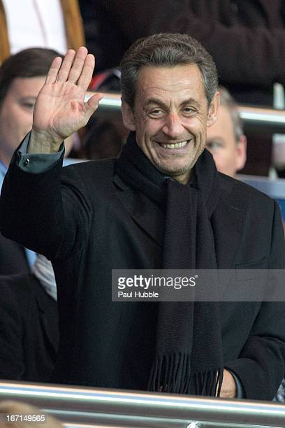 Nicolas Sarkozy is seen during the Ligue 1 match between Paris Saint Germain and OGC Nice at Parc des Princes on April 21 2013 in Paris France