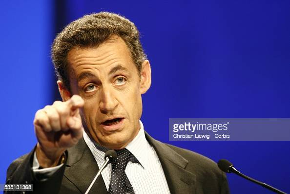Nicolas Sarkozy leader of French political party Union for a Popular Movement at the Congress of Mayors of France