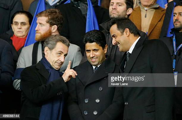 Nicolas Sarkozy Nasser Al Khelaifi and Tamim ben Hamad Al Thani attend the French Ligue 1 between Paris SaintGermain and ESTAC Troyes at Parc Des...