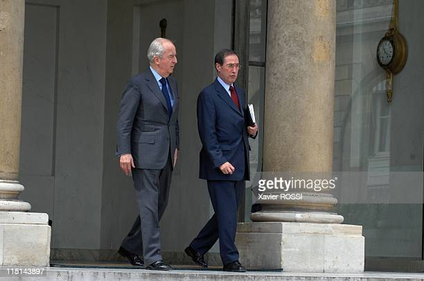 Nicolas Sarkozy receives former Prime Edouard Balladur at the Elysee Palace in Paris France on June 18 2007