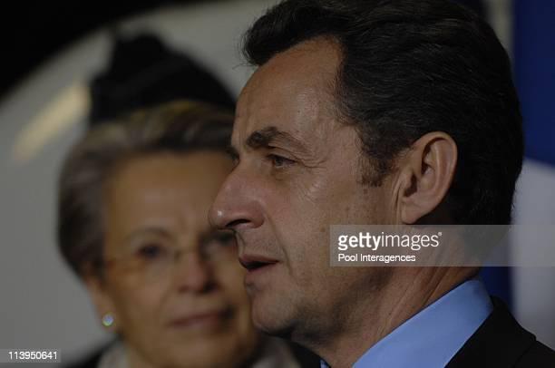 Nicolas Sarkozy visits Police Station In Sartrouville France On January 21 2008Michel AlliotMarie and Nicolas Sarkozy