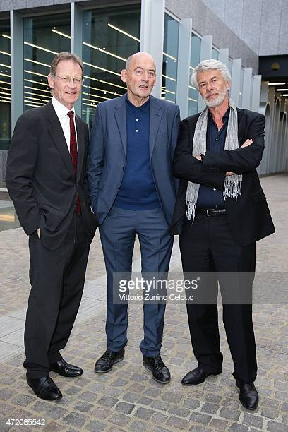 Nicolas Serota Rem Koolhaas and Chris Dercon attends the Fondazione Prada Opening on May 3 2015 in Milan Italy