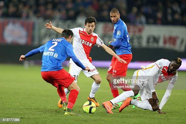 Nicolas Seube of Caen Bernardo Silva and Lacina Traore of Monaco during the French Ligue 1 match between SM Caen v AS Monaco at Stade Michel D'Ornano...