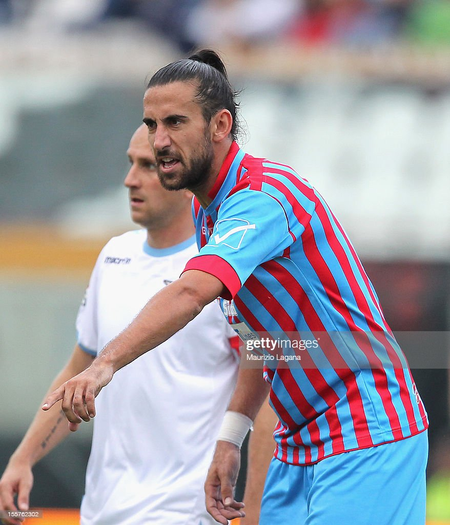 <a gi-track='captionPersonalityLinkClicked' href=/galleries/search?phrase=Nicolas+Spolli&family=editorial&specificpeople=2190118 ng-click='$event.stopPropagation()'>Nicolas Spolli</a> of Catania during the Serie A match between Calcio Catania and S.S. Lazio at Stadio Angelo Massimino on November 4, 2012 in Catania, Italy.