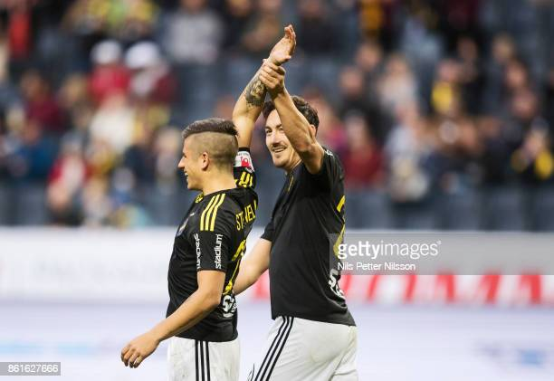 Nicolas Stefanelli of AIK celebrates after AIKs 10 during the Allsvenskan match between AIK and Jonkopings Sodra IF at Friends Arena on October 15...