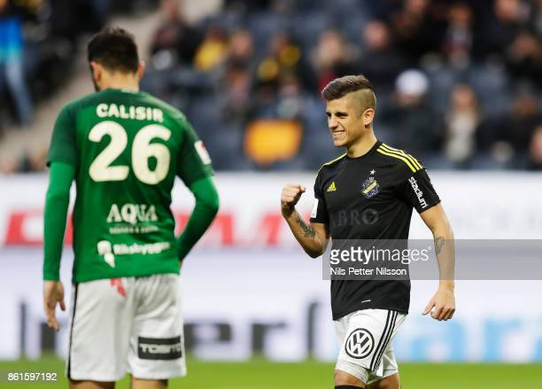 Nicolas Stefanelli of AIK celebrates after scoring to 10 during the Allsvenskan match between AIK and Jonkopings Sodra IF at Friends Arena on October...