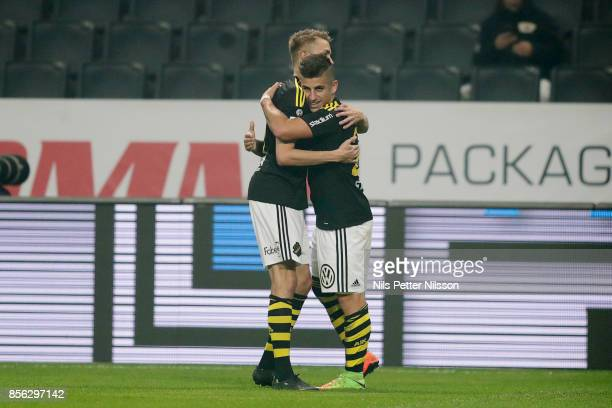 Nicolas Stefanelli of AIK celebrates after scoring to 52 during the Allsvenskan match between AIK and IF Elfsborg at Friends Arena on October 1 2017...