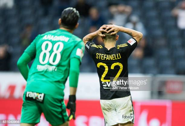 Nicolas Stefanelli of AIK dejected during the Allsvenskan match between AIK and Athletic FC Eskilstura at Friends arena on August 13 2017 in Solna...