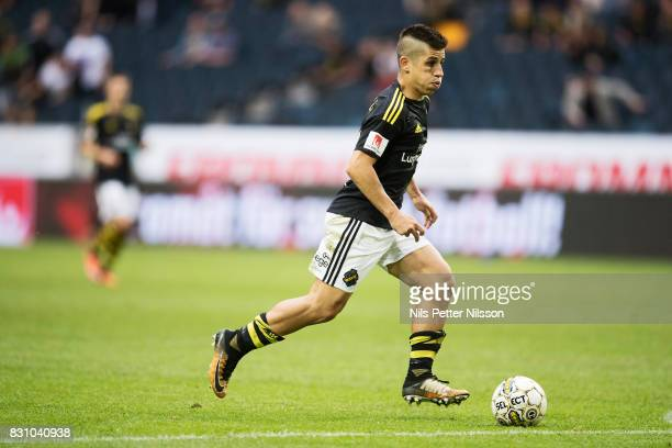 Nicolas Stefanelli of AIK during the Allsvenskan match between AIK and Athletic FC Eskilstura at Friends arena on August 13 2017 in Solna Sweden