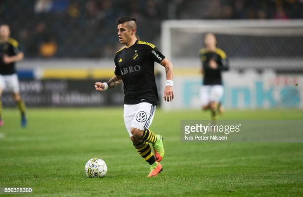 Nicolas Stefanelli of AIK during the Allsvenskan match between AIK and IF Elfsborg at Friends Arena on October 1 2017 in Solna Sweden
