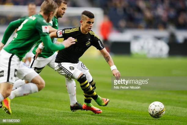 Nicolas Stefanelli of AIK during the Allsvenskan match between AIK and Jonkopings Sodra IF at Friends Arena on October 15 2017 in Solna Sweden