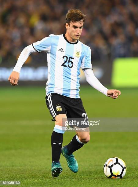 Nicolas Tagliafico of Argentina passes the ball during the Brazil Global Tour match between Brazil and Argentina at Melbourne Cricket Ground on June...