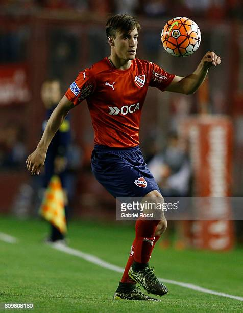 Nicolas Tagliafico of Independiente controls the ball during a first leg match between Independiente and Chapecoense as part of Copa Sudamericana...
